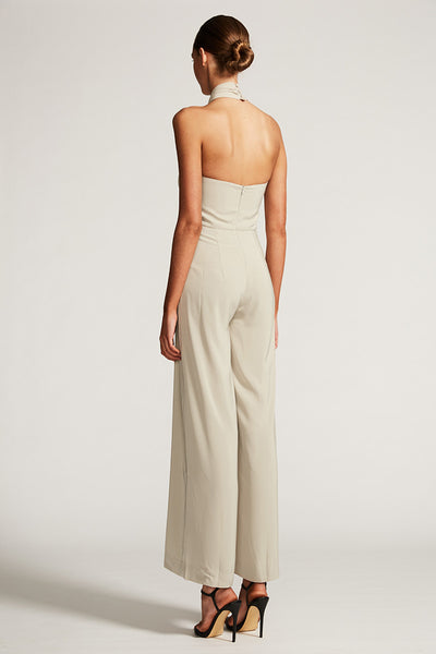 CORE KNOT DRAPED JUMPSUIT - OYSTER