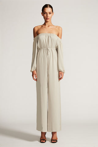 CORE OFF THE SHOULDER JUMPSUIT - OYSTER