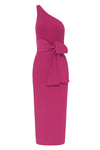 LUCY ONE SHOULDER MIDI DRESS - FUCHSIA