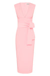 LUCY PLUNGED MIDI DRESS - BLUSH