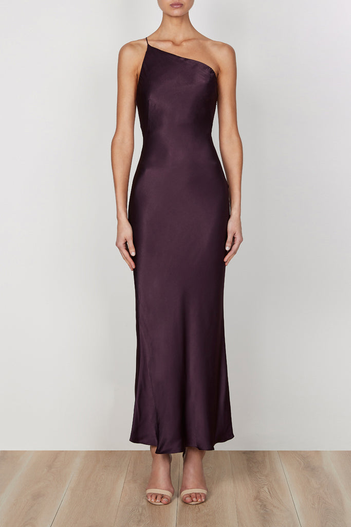 GISELE ONE SHOULDER BIAS DRESS - MULBERRY