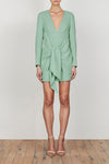 LAUTNER TIE FRONT FITTED MINI DRESS - SPEARMINT
