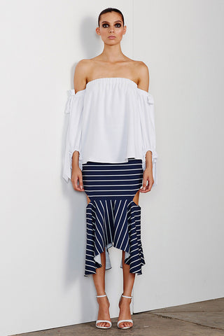 DELFINE OFF THE SHOULDER BLOUSE - WHITE
