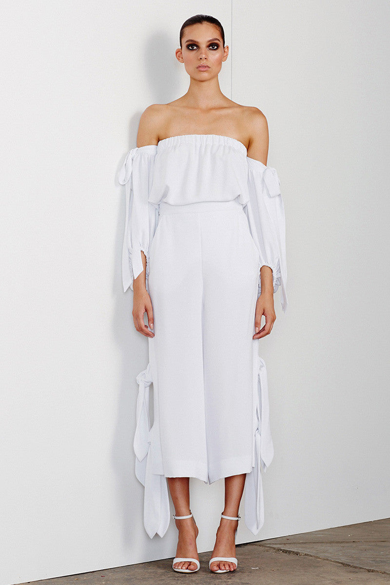 DELFINE CULOTTES WITH SIDE TIE - WHITE