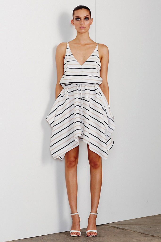 PALOMA DRAWSTRING MINI DRESS - WHITE
