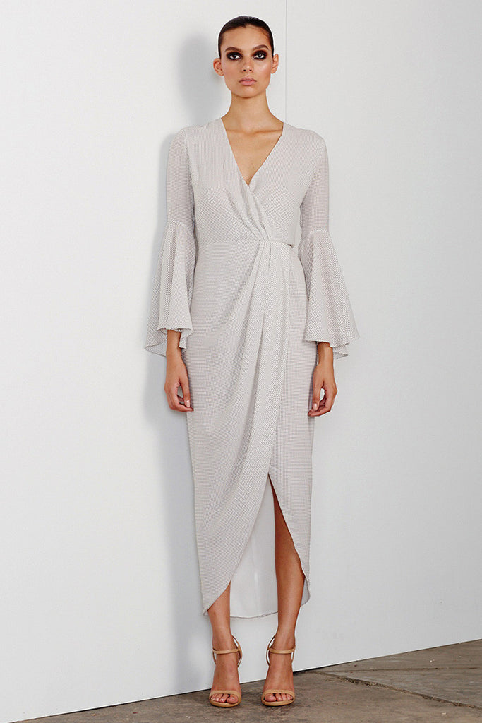 CATALINA DRAPED MAXI WITH FLARED SLEEVE