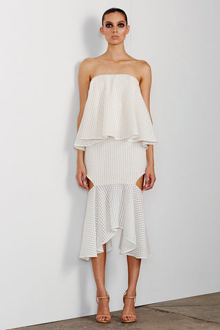 LUCIA LAYERED DRESS WITH CUT OUT FRILL - WHITE