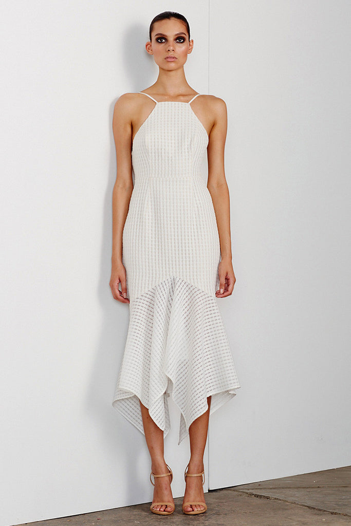 LUCIA LACE UP COCKTAIL DRESS - WHITE