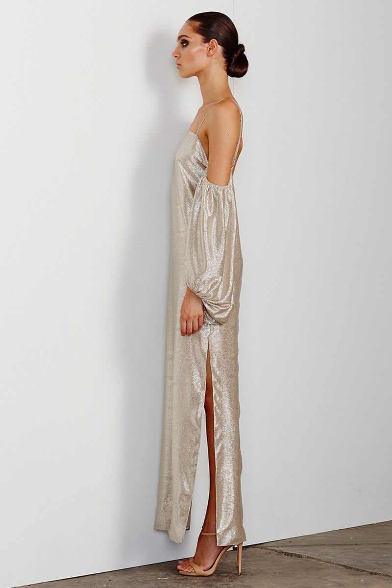 ESMERALDA OFF THE SHOULDER BACKLESS SLIP - CHAMPAGNE