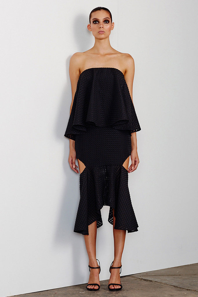 LUCIA LAYERED DRESS WITH CUT OUT FRILL - BLACK
