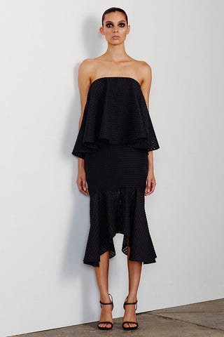 LUCIA LAYERED DRESS WITH FRILL - BLACK