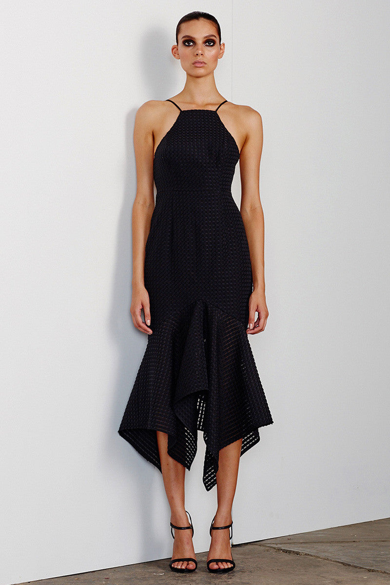 LUCIA LACE UP COCKTAIL DRESS - BLACK