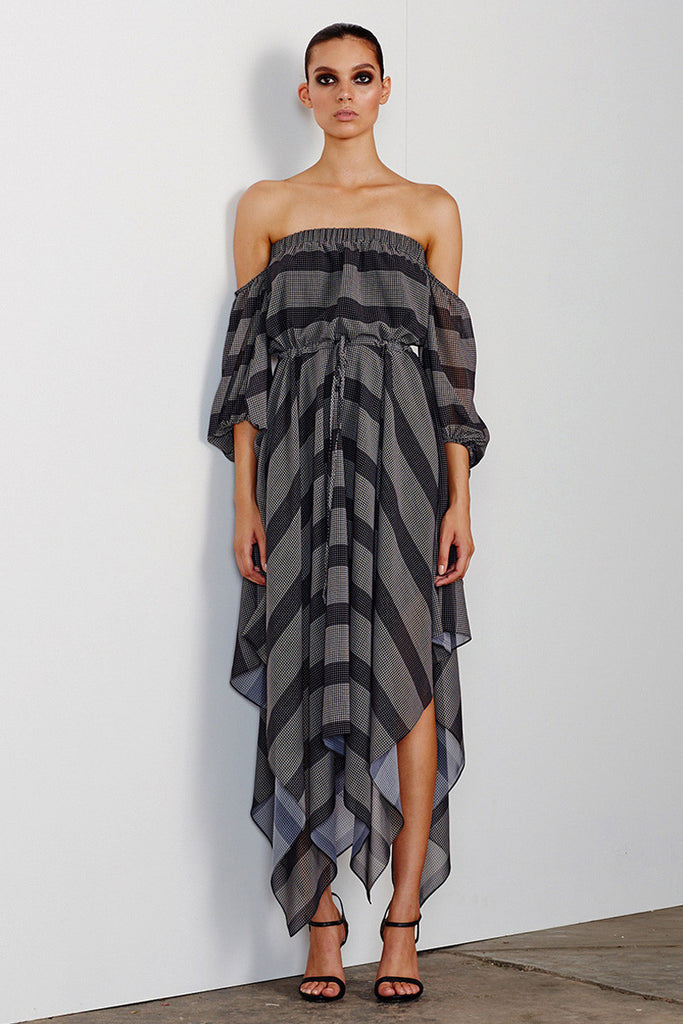 ESTELA OFF THE SHOULDER DRAWSTRING MIDI DRESS