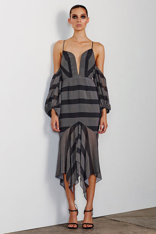 ESTELA PLUNGED OFF THE SHOULDER DRESS