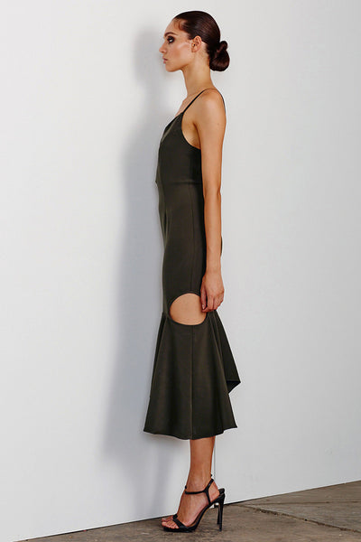 CRUZ PLUNGED DRESS WITH CUT OUT FRILL - KHAKI