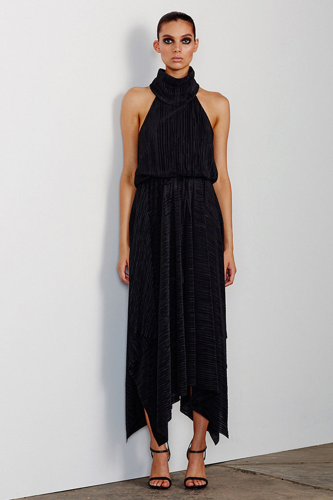 YAZMIN FUNNEL NECK MIDI DRESS