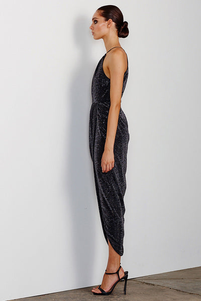 ESMERALDA HIGH NECK RUCHED MAXI - CHARCOAL