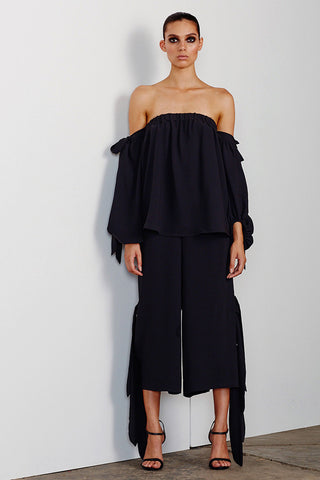 DELFINE OFF THE SHOULDER BLOUSE - BLACK