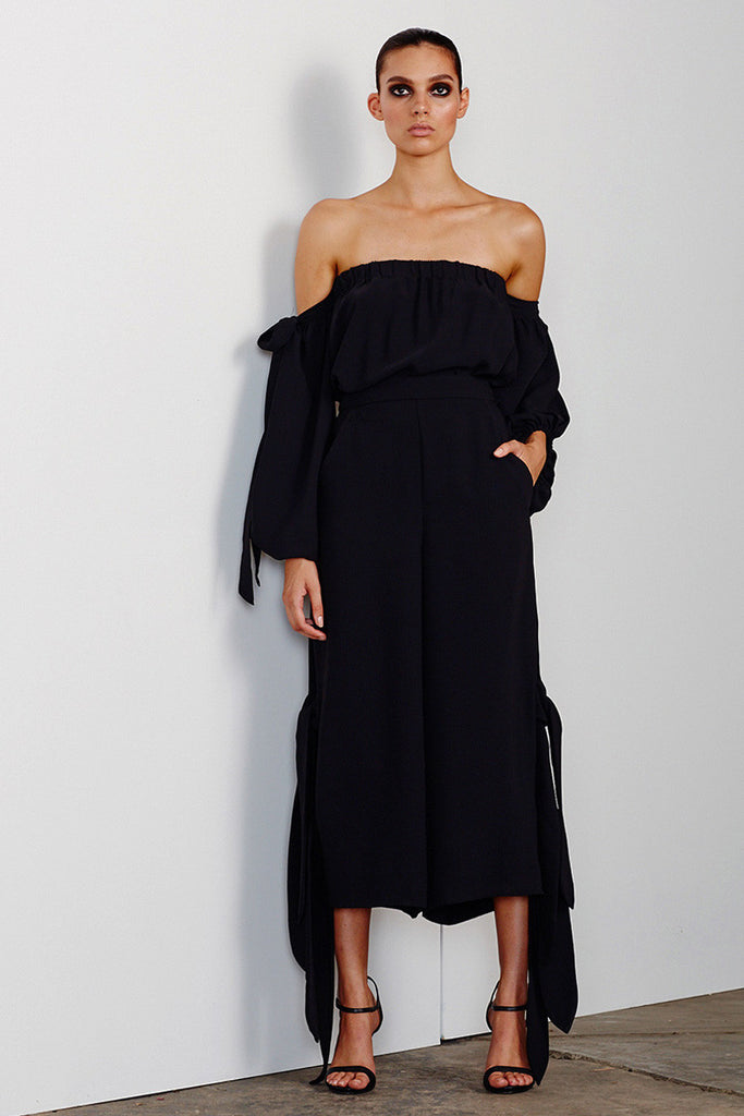 DELFINE CULOTTES WITH SIDE TIES - BLACK