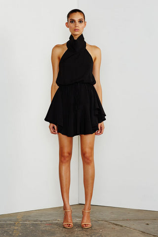 CORE HIGH NECK DRAWSTRING DRESS - BLACK