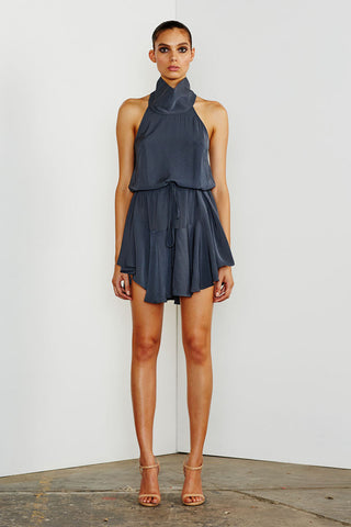 CORE HIGH NECK DRAWSTRING DRESS - CHARCOAL