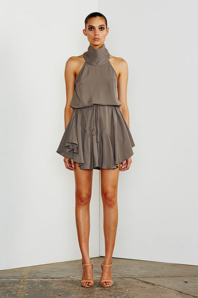 CORE HIGH NECK DRAWSTRING DRESS - OLIVE