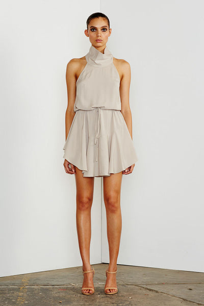 CORE HIGH NECK DRAWSTRING DRESS - OYSTER