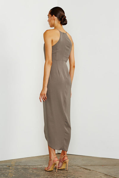 CORE HIGH NECK RUCHED DRESS - OLIVE