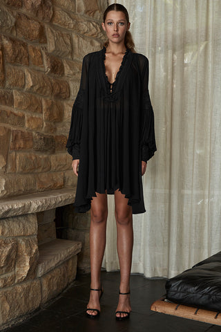 STEVIE OVERSIZED TUNIC WITH SLIP - BLACK