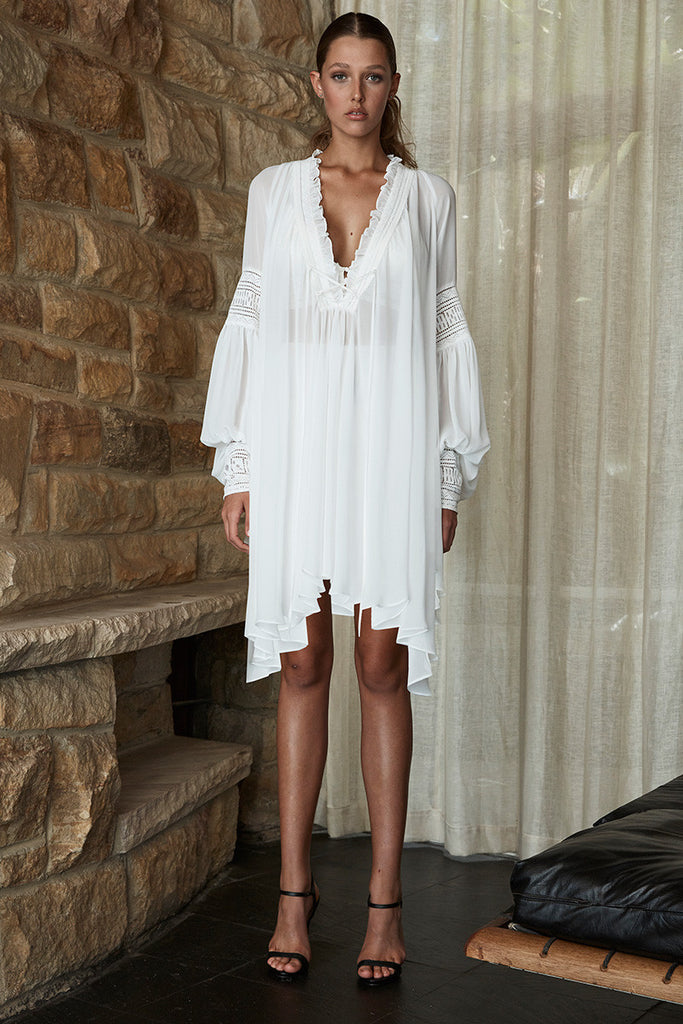 STEVIE OVERSIZED TUNIC WITH SLIP - WHITE