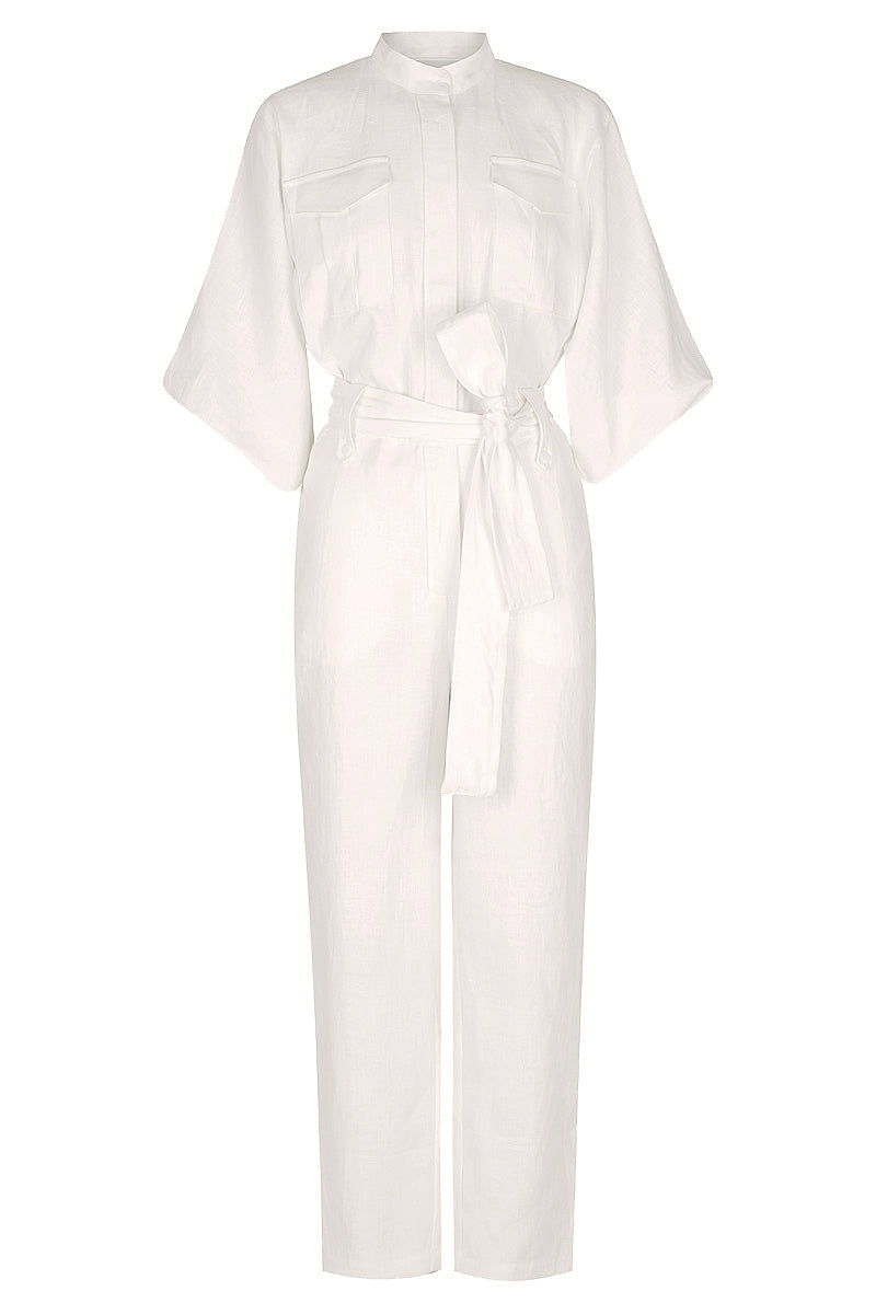 Shona Joy SAVANNAH LINEN BALLOON SLEEVE JUMPSUIT - WHITE