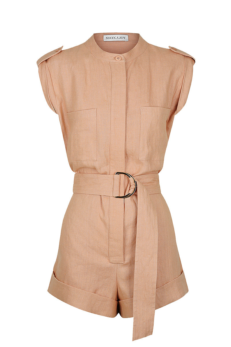 Shona Joy SAVANNAH LINEN BOILER SUIT - DESERT ROSE