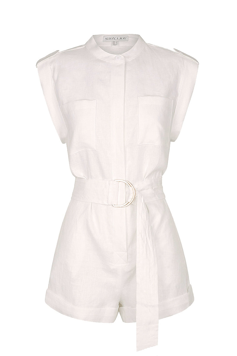 Shona Joy SAVANNAH LINEN BOILER SUIT - WHITE