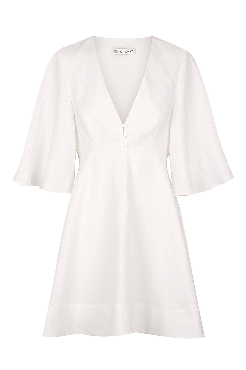 Shona Joy SAVANNAH LINEN FLARED MINI DRESS - WHITE