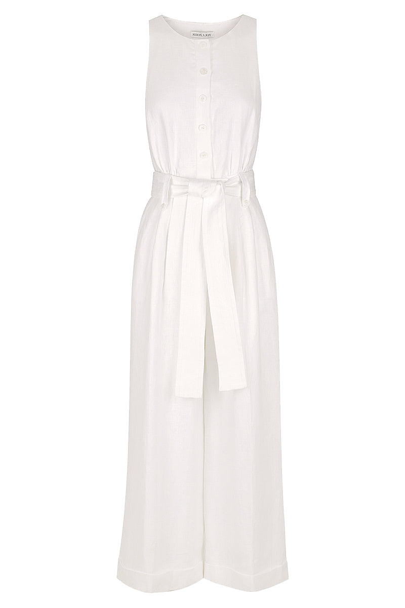 Shona Joy SAVANNAH LINEN TAILORED JUMPSUIT - WHITE