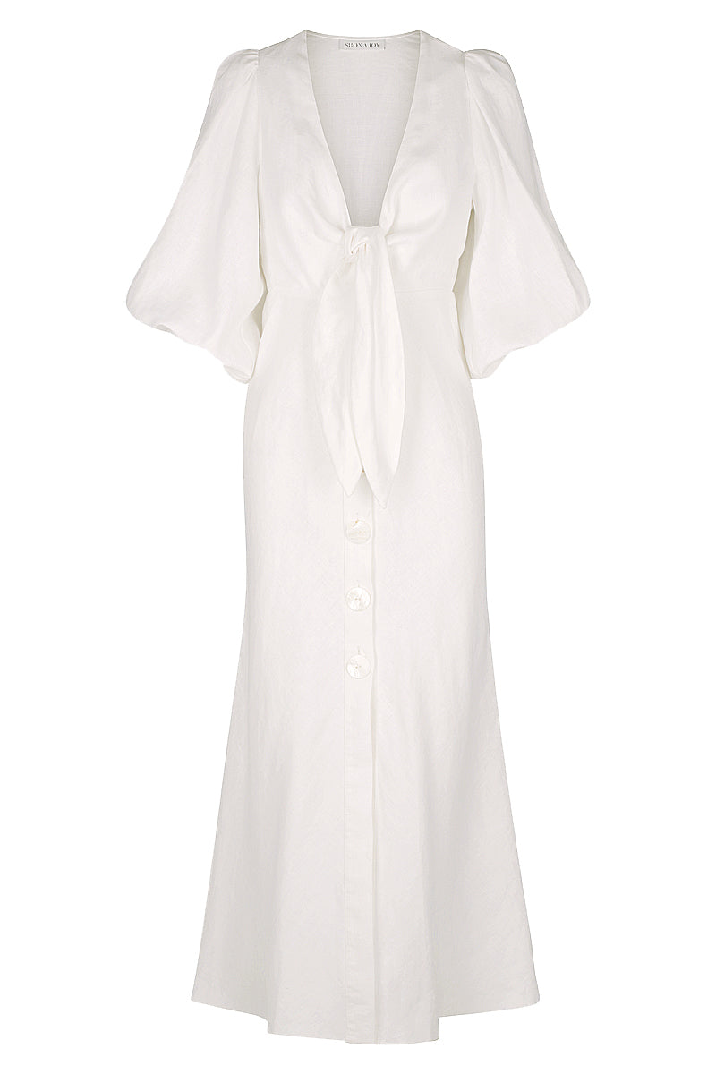 Shona Joy SAVANNAH LINEN TIE FRONT MIDI DRESS - WHITE