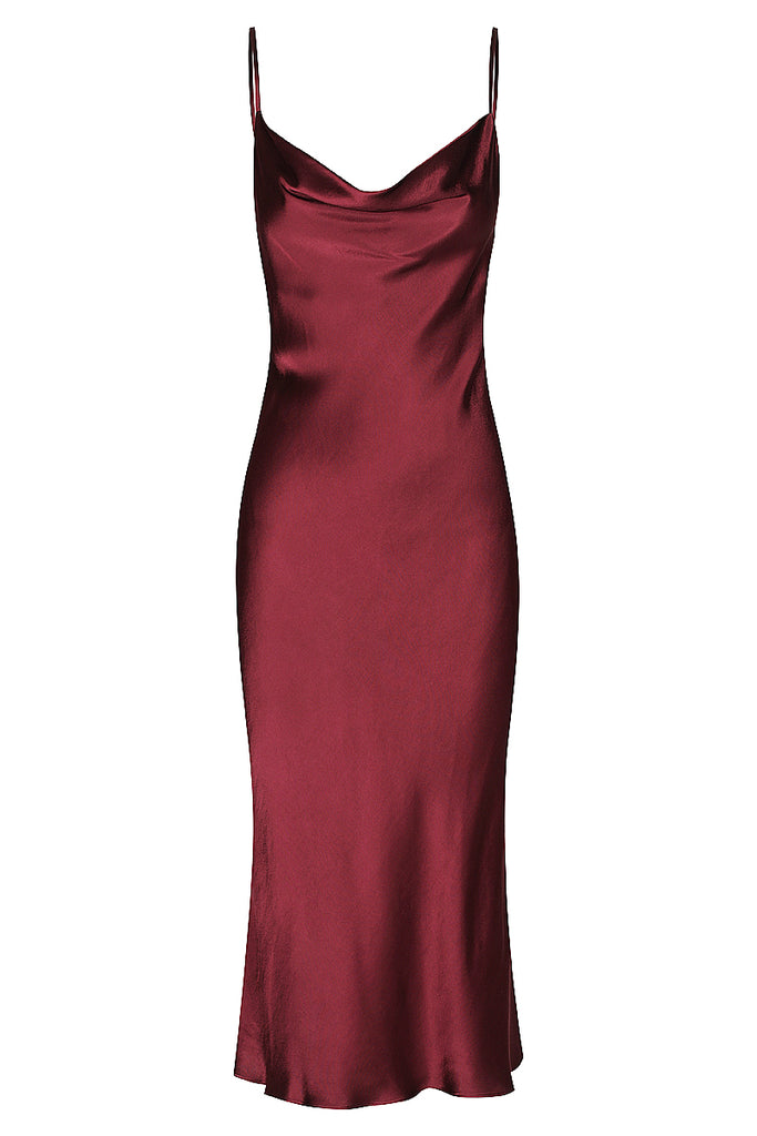 GISELE BIAS COWL MIDI DRESS - WINE