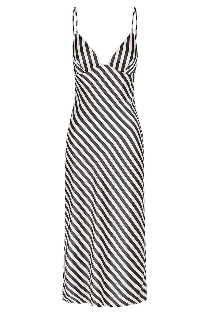 DUKE BIAS SLIP MIDI DRESS - NUDE & BLACK STRIPE