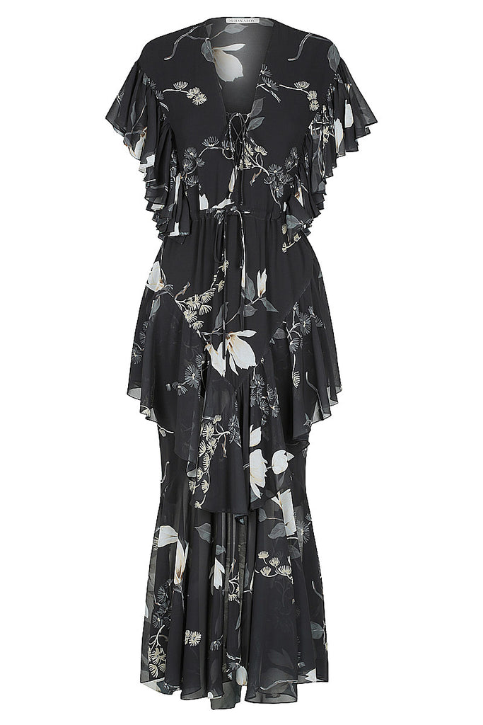 HARPER CROSS FRILL MAXI DRESS - BLACK