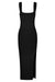 BASIC SQUARE NECK MIDI DRESS - BLACK