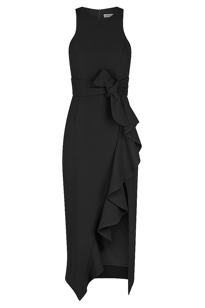 CELESTE RUFFLE FRONT FITTED MIDI DRESS - BLACK