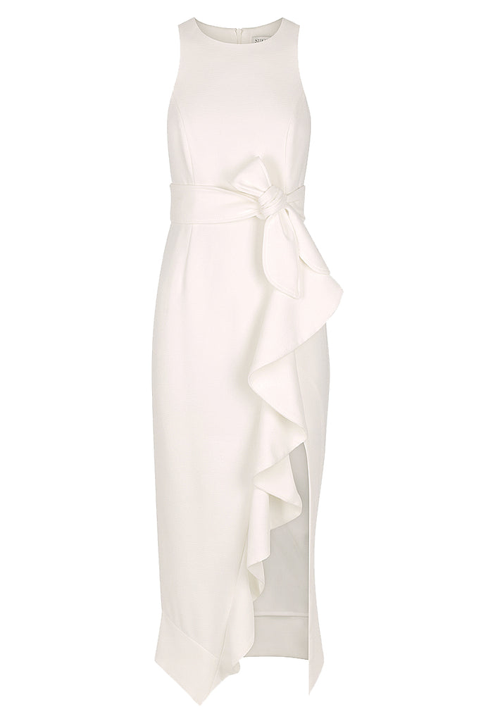 CELESTE RUFFLE FRONT FITTED MIDI DRESS - IVORY