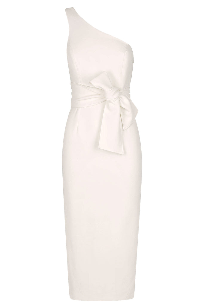 BRYANT ONE SHOULDER MIDI DRESS WITH BELT - IVORY