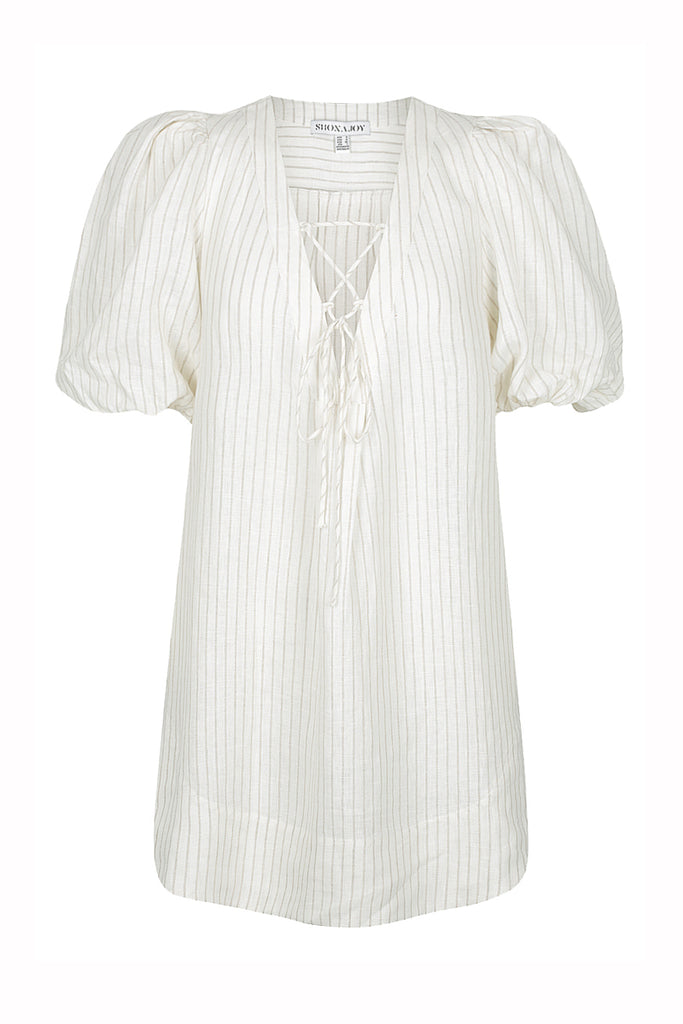 ST KITTS LINEN PUFF SLEEVE MINI DRESS