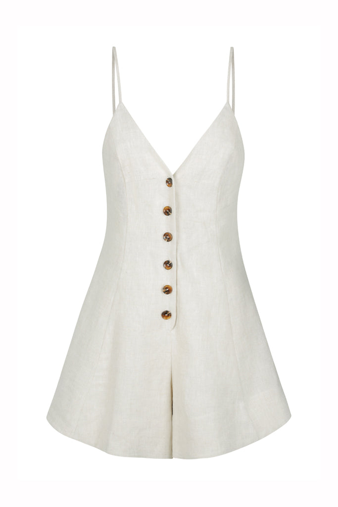ST MARTIN LINEN BUTTON UP PLAYSUIT - NATURAL