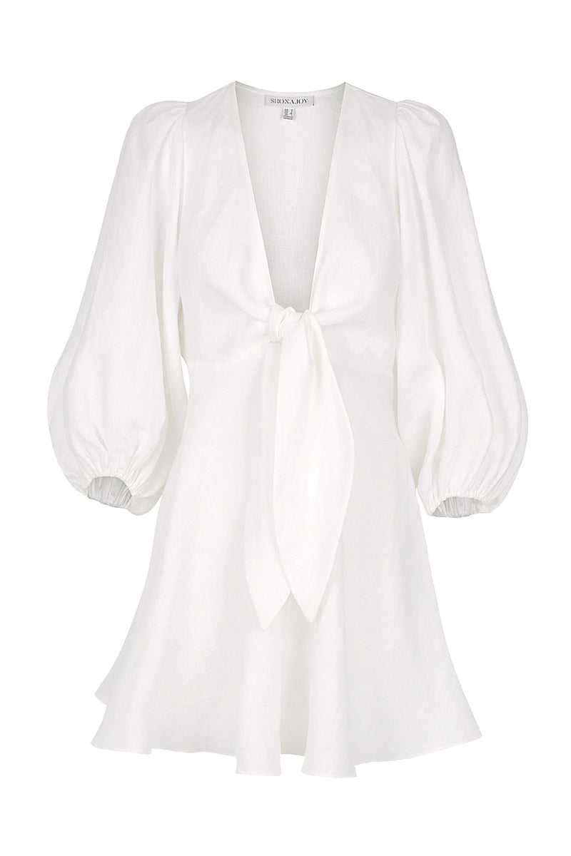 Shona Joy ST MARTIN LINEN PUFF SLEEVE MINI DRESS - WHITE