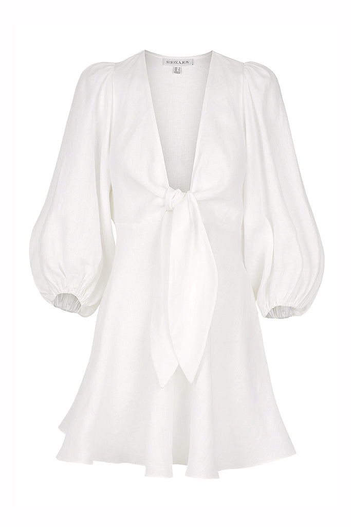 ST MARTIN LINEN PUFF SLEEVE MINI DRESS - WHITE