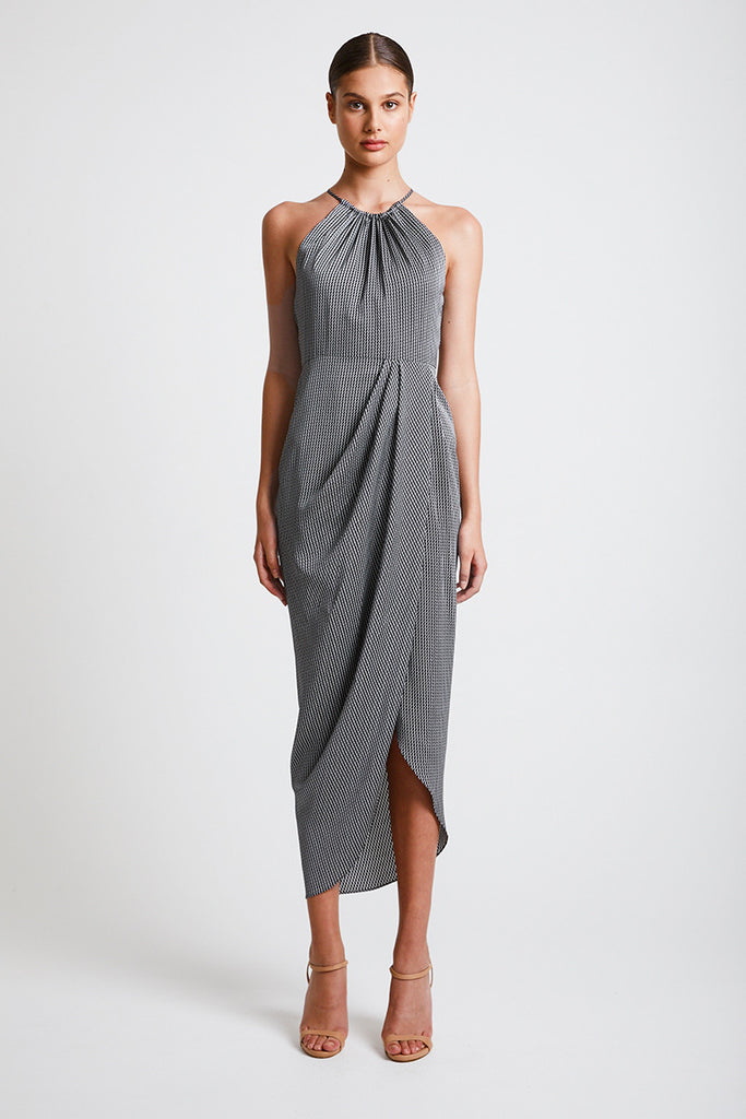 MIRAGE HIGH NECK RUCHED MAXI DRESS