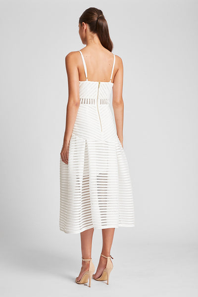PEGASUS PLEATED COCKTAIL MIDI DRESS - IVORY