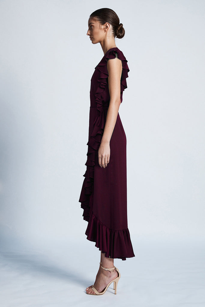 LUXE RUFFLE WRAP DRESS - GARNET